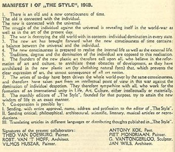"Gründungsdokument ""De Stijl-Bewegung"" – Das Manifest I von 1918"