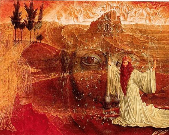 Ernst Fuchs – Moses vor dem brennenden Dornbusch